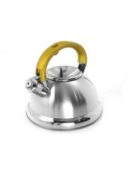komm/e80g czajnik stalowy LUX rączka żółta gwizdek