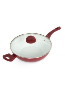 309 Harmony wok z pokrywką 30 cm bordo rękaw