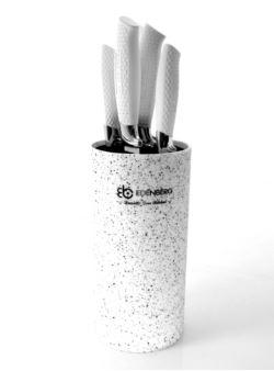 EDENBERG kpl 5 szt noże ceramiczne w bloku białym