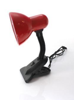 Lampka biurkowa z klipsem uchwytem żabką czerwona