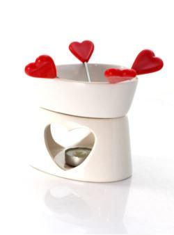 Fondue zestaw ceramiczny białe serce